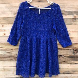 Free People   Shake It Up Blue Lace Dress Large